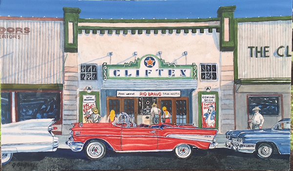 George Boutwell painting of Cliftex theater with vintage car in front
